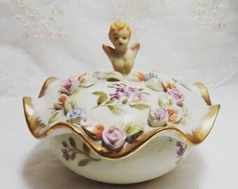 Vintage 1940s, Lenwile Ardalt Hand Painted Artware Japan Cherub Powder Box