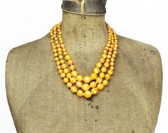 Vintage Orange Bead Necklace, Hong Kong Orange Multi Strand Necklace, Hong Kong Necklace, Long Orange Necklace
