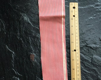 Vintage Antique Quilting Fabric Scrap Pieces // red and white pinstripe cotton > very old, lightweight/thin cotton > 4 odd pcs