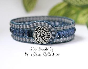Denim Blue Beaded Leather Cuff, 3 Row Bracelet, Bohemian Jewelry, Leather Wrap Bracelet, Leather Jewelry, Beaded Bracelet