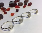 Heart Rings Valentines Day Stackable Hammered Sterling Silver Bands