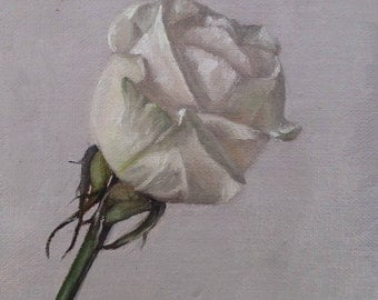 "Original oil painting: White rose 4x6"""