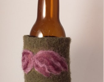 Purple Mustache Beer Cozy- Eco friendly, upcycled, felted wool can/bottle cozy