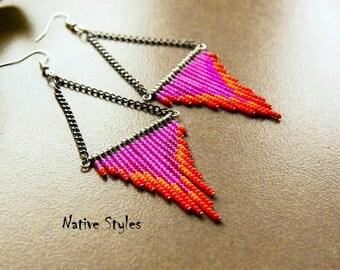 """4""""Geometric Beaded Earrings~Triangle Beaded~Fire Beaded~Red Pink Chandelier Earrings~Shoulder Dusters~Long Geometric Boho~Beaded Fringe Long"""
