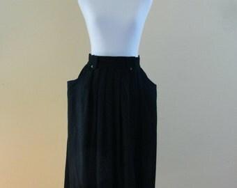 SALE! 50s Black High Waist Wrap Around Midi Skirt. With Pockets. Small to Medium.