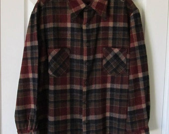 Wool Blend Plaid Shirt with Snap Front
