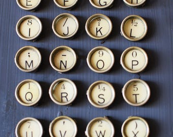 Vintage Typewriter Keys Complete Set of 28 English Corona