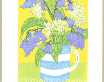 Bluebells and Ramsons Original Limited Edition Linocut Reduction Print