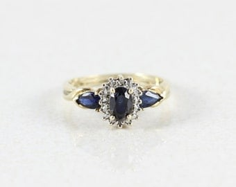10k Yellow Gold Natural Blue Sapphire Ring 2 Diamonds Accents Size 6 3/4
