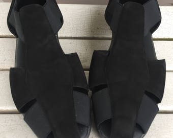 Comfortable Black Suede Leather Strappy Sandals by Partner Ladies Size 10 M
