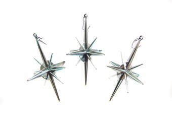 Blue Silver Sputnik Ornaments, Atomic Star Decor, Mid Century, Christmas Star Ornaments