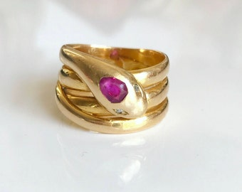 Victorian Snake Ring with Ruby and Rose cut Diamonds