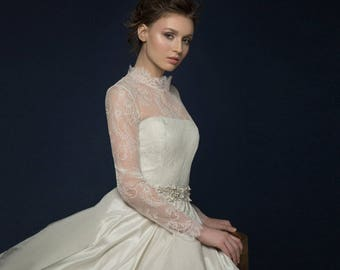 AMPELLA / romantic lace illusion long sleeve wedding dress unique corset wedding gown with sheer back Lace corset wedding dress with pockets