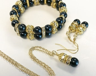 Midnight Blue Necklace, Bracelet, and Earring Set