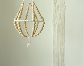 Wooden beads macrame chandelier