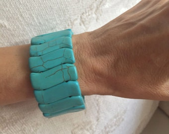Turquoise bracelet, Turquoise jewelry Turquoise elastic boho bracelet  Turquoise stone bracelet  bangle Turquoise  extensible bracelet