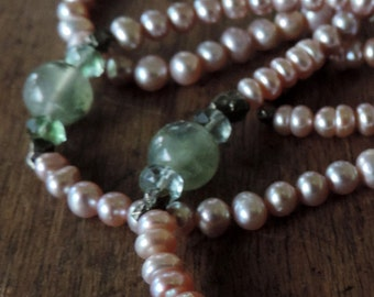 Necklace of cultured pearls and gemstones: Prehnite, Pyrite, and Fluorite.