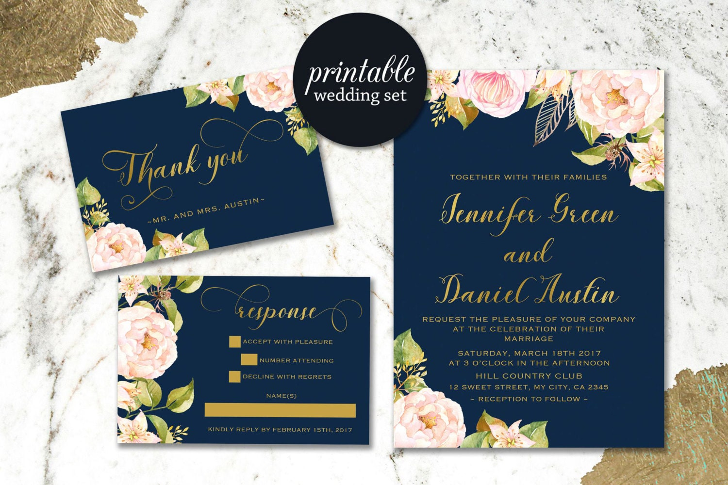 Pink And Navy Blue Wedding Invitations: Navy Blue Wedding Invitation Blush Pink Floral Wedding