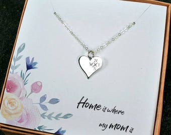 Mom Necklace, Mom Gifts from Daughter, From Son, Birthday, Mother's Day, Christmas, Mother of Bride, Home is where mom is, Compass Necklace