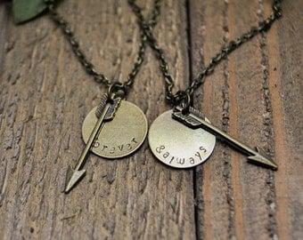 Forever and Always Necklace Set - Arrow Necklaces - Custom Best Friend Necklaces - Friendship Necklaces - Couple Necklaces