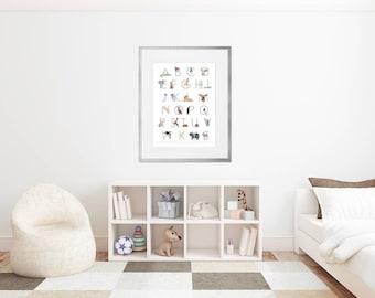 Large Alphabet Poster - Framed Animal Alphabet - Framed Nursery Art - Animal Alphabet Wall Art - ABC Wall Art - Alphabet Art - Framed Print