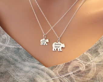 Sterling Silver Mama Bear and Baby Bear Necklace Set, Mama and Baby Bear Charm Necklaces, Mama and Baby Bear Necklaces, Bear Necklace Set