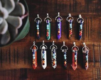 7 Chakra Necklace - Crystal Pendant Reiki Healing Stone Jewelry Womens Jewellery Tumblr Multi-stone Bohemian Yogi Hipster Christmas Present