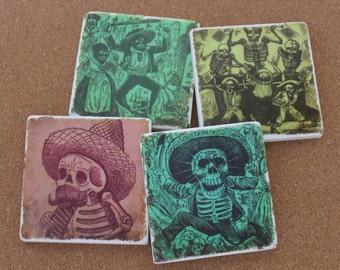 Set of 4 Tumbled Marble Tile Coasters - Jose Posada Día de los Muertos Day of the Dead Art