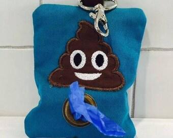 Dog poop bag holder blue/green with pooh emoji- poop bag dispenser- dog lover gift-new puppy gift-fun dog gift-fun dog things-pooh emoji