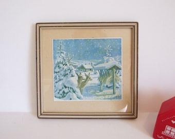 Swedish Deer Framed Print  Mid century  vintage // Drawing framed Winter Scandinavia Wildlife