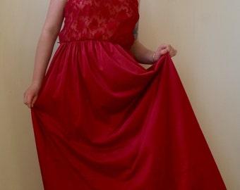 Rich scarlet colored long lacy slip dress- M/L