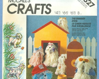 """1986 The Shaggy Dog Sheepdog in Two Sizes 13"""" and 16"""" Tall Uncut Factory Fold - Vintage McCall's Crafts Sewing Pattern 2627"""