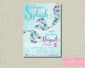 Mermaid Invitation, Mermaid Birthday Invite, Under The Sea Party, Teal Purple, Little Mermaid, Mermaid Party Invite, Pool Party Invitation