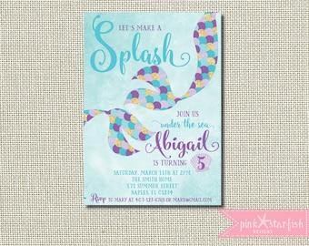 mermaid invitation | etsy, Birthday invitations
