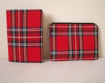 Tartan Passport Cover / holder in Royal Stewart Red Tartan / Plaid Fabric -  Wool like Polyviscose fabric - Handmade in Scotland