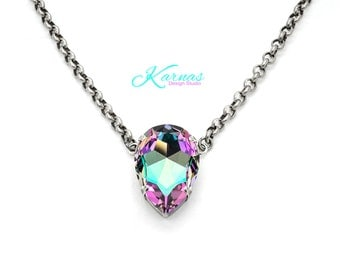 COTTON CANDY CRUSH 30x20mm Crystal Pear Necklace Swarovski Elements *Pick Your Finish *Karnas Design Studio *Free Shipping*