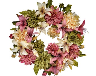 Summer Wreaths | Front Door Wreaths | Dahlia & Lily Wreath | Housewarming Gift | Summer Door Wreath | Outdoor Wreath |