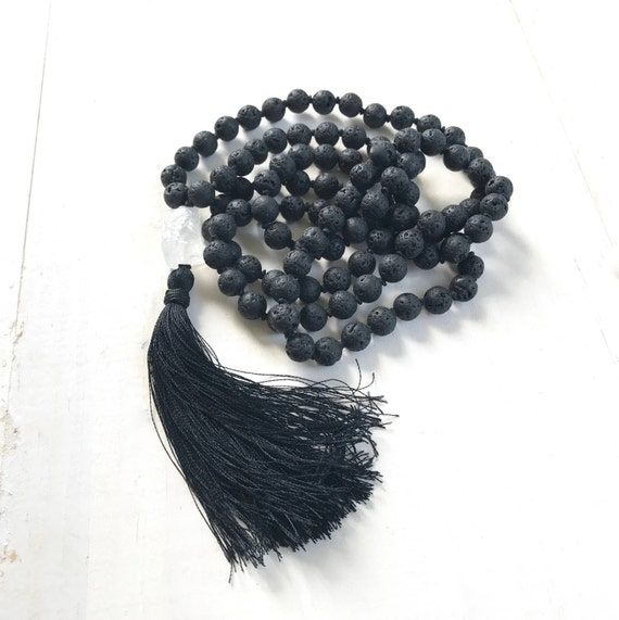Mala Of Rebirth, Black Lava Mala Beads, Grounding Mala Necklace, Root Chakra Mala, Leather Tassel Mala, 108 Bead Mantra Mala
