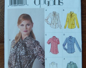 Fitted Blouse Sewing Pattern/ Easy Options Vogue 8772/ Misses Size 6- 8- 10- 12- 14/ tie collar, optional collars,sleeves & hems/ Uncut