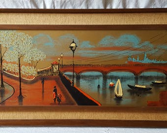 Vintage Large Mid Century Painting, Harbor Scene, Sailboats, Bridge, Framed, Signed Fairchild