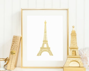 Eiffel Tower Printable Eiffel Tower Wall Art French Wall Art French Poster French Decor Gold Eiffel Tower Gold Foil Paris France Nursery Art