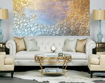 Metallic Impasto Painting Sliver with a Hint of Soft Blue Flowers with Palette Knife and Brush