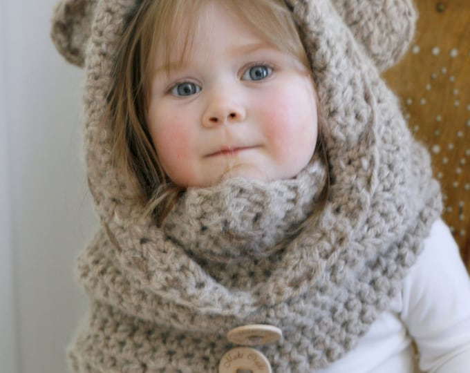 CROCHET PATTERN bear hooded cowl Jacob with a inner cowl (baby/toddler/child/adult sizes)