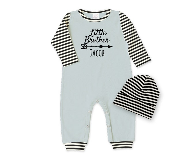 Personalized Newborn Boy Coming Home Outfit, Newborn Boy Outfit, Baby Boy Romper, Baby Boy Outfit, Little Brother, Welcome Baby, TesaBabe