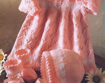 Baby Knitting Pattern pdf Eyelet Dress Bootees Hat  Double Knit