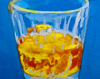 """My Relationship With Whiskey Is On the Rocks #203 (ARTIST TRADING CARDS) 2.5"""" x 3.5"""" by Mike Kraus"""