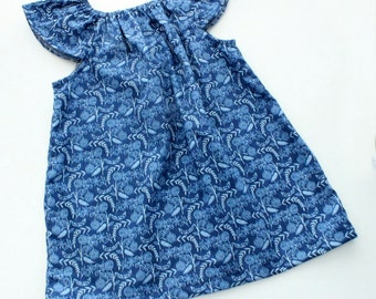 Organic Baby Dress, Flutter sleeve dress, baby clothes, organic baby, baby girl dress, organic kids clothes, Navy Fern