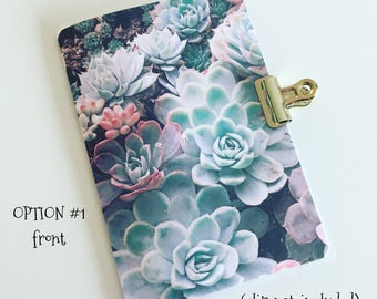 Succulents Garden Green/Pink/Brown Travelers Notebook Laminated Dashboard - POCKET/FIELD NOTES size