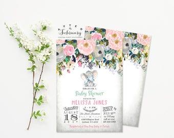 Blush Pink Elephant Baby Shower Invitations Little Peanut Baby Shower Invitation Girl Floral Baby Shower Invitation // Printable No.1444BABY