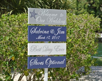 Nautical Beach Wedding Decor, Welcome Wedding Sign, Best Day Ever Personalised Wedding Gift Idea